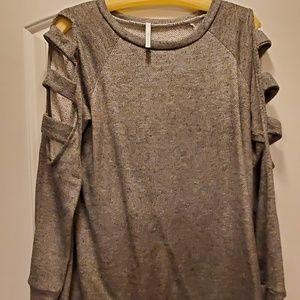 Gray Terrycloth Peep Shoulder long sleeve shirt